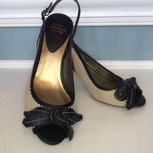 leather & canvas bow heels black & tan Peep toe